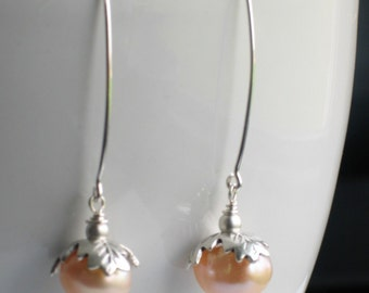Peach Pearl Earrings Long Dangles with Floral Silver Bead Caps, Peach and Silver, Spring Earrings, Wedding Dangles, Pearl Drops