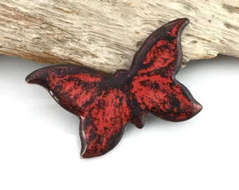 Enameled Jewelry Butterfly Brooch or Pin, One of a Kind Handmade Red Butterfly, Gift for Gardener & Nature Lover, Ready to Mail