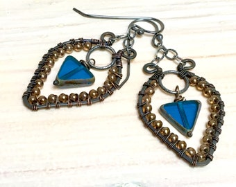 Chandelier Hippie Hoops, Teal Blue Beaded Triangle Dangles, Czech Glass, Ornate Mixed Metals, Artisan Original by WillOaks Studio