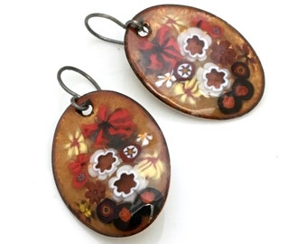 Elegant Gold Enamel Earrings, Copper Enameled Jewelry, Gold Red & Black Floral Design, Chinese Scroll Inspired, Hand Crafted Vitreous Enamel