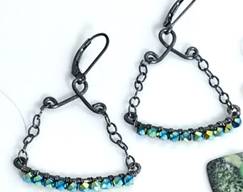 Beaded Crystal Dangles, Artisan Hippie Earrings, Handmade Original Design, Sterling Metalwork Earrings, Teal Crystals, Gift for Her
