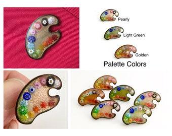Flower Painter Palette Pins, Original Copper Enamel Jewelry for Artist & Art Appreciator, Gift for Gardener. Nature Inspired Art Pin, Unisex