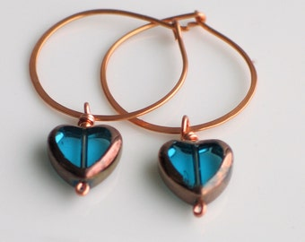 Teal Blue Glass Hearts on Hand Forged Copper Hoop Earrings