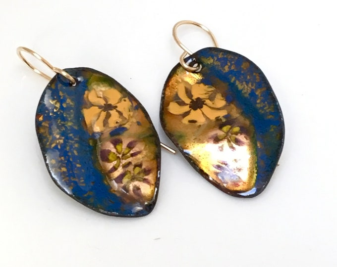 Featured listing image: Enameled Earrings Navy Blue & Gold Leaves, Enamel Jewelry, Copper Leaf Dangles, Handmade Glass Enamel Leaves, Copper Enamel, Ready to Mail