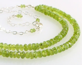 Peridot Double Strand Beaded Bib Necklace, Gemstones & Silver Chain, August Birthstone, Birthday Gift for Her, Green Gem Necklace