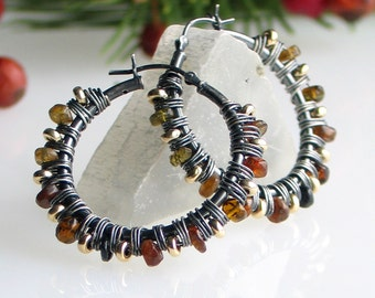Tourmaline Hoop Earrings, Nature Color Earrings, OOAK Gemstone Wrapped Oxidized Sterling Earrings with Latchback