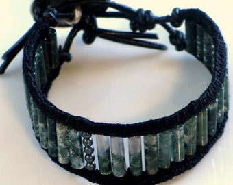 Moss Agate Bracelet Cuff Crocheted Black Silk and Black Leather