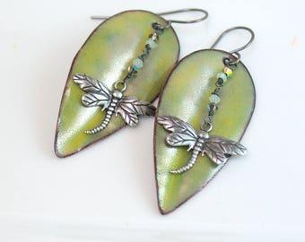 Pale Green Long Leaf Dangle Earrings, Silver Dragonfly, Luminous Copper Enamel, Vitreous Enamel Art Jewelry, Artisan Earrings, Gift for Her
