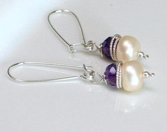 Amethyst and Pearl Dangle Earrings, White Pearl & Purple Bound in Sterling, Sleek Self Latch Wire Wrapped Earrings, Handmade Long Earrings