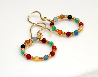 Bright Gold and Colorful Stone Beaded Dangles, Festive Hippie Earrings, Colorful Hoops, Bright Beaded Earrings
