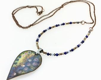 Blue and Gold Enameled Copper Leaf Pendant, Long Necklace, Pastel Design on Copper Enamel Necklace, WillOaksStudio Art Pendant, Gift for Her