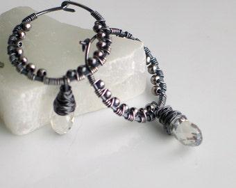 Silver Gray Crystal Drop on Silver Hoop, Handmade Textured Silver Hoop Earrings, Swarovski Silver Shade Dangles, Silver and Crystal Hoops