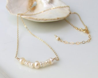 Keishi Pearl Bar Necklace, White Freshwater Pearl and Gold Necklace, Minimal Organic Delicate Natural June Birthday, Pearl Necklace