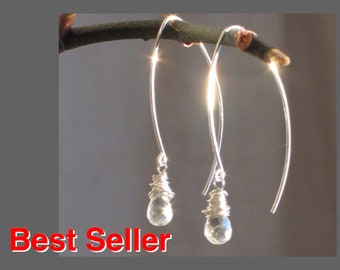 Clear Quartz Crystal Dangle Earrings, Wire Wrapped Winter Dawn Earrings in Sterling Silver, Gift for Her