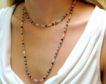 Multi Colored Bead Necklace, Colorful Long Stone Beaded Necklace, Layering Hippie Chain, Boho, Wrap Cuff
