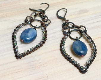 Blue Kyanite Statement Chandelier Earrings, Blue Gem and Glass Beaded Hoops, WillOaksStudio Artisan Handmade Original Hoops, Gift for Her