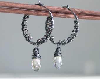 Silver Gray Crystal Drop on Silver Hoop, Handmade Textured Silver Hoop Earrings, Swarovski Silver Shade Dangles, Silver and Crystal Hoops