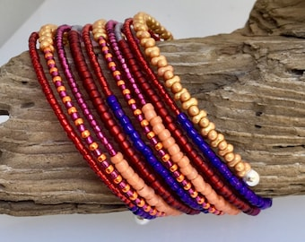 Bright Multi Color Glass Wrap Cuff, Original Mix of Texture & Color, Boho Style, Steel Coil Memory Bracelet, Easy On Off, WillOaks Jewelry