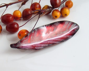 Big Ruby Pink Art Pin, One of a Kind Artisan Jewelry in Vitreous Enamel, Ready to Mail, Feather or Leaf Shape