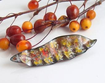 Feather Inspired Striped Lapel Pin, Enameled Copper Handmade Brooch, Brown Yellow Orange Stripes Art Pin, Vitreous Enamel by WillOaks Studio