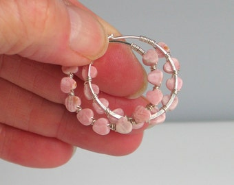 Pink Stone Heart Sterling Hoops, Tiny Lacy Rhodochrosite Hearts Wire Wrapped toHandmade Sterling Silver Hoops, Valentines Gift, Gift for Her
