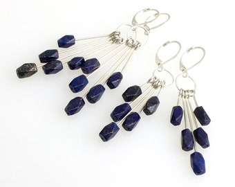 Blue Lapis Lazuli Statement Earrings, Long Chandelier Dangles, Sterling Silver & Blue Denim Stone Dangles, Artisan Design Handmade Earrings