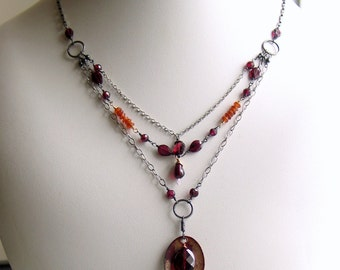 Gemstone Layered Necklace, Garnets and Chains, Copper Enamel Art Pendant on Layer Necklace, Detailed Artisan OOAK, Free Shipping