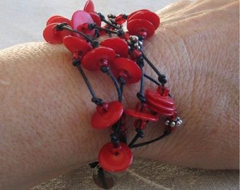 Red as Roses Bracelet, Knotted Leather Multi-strand Cuff, Red Coral Disks and Glass Beads with Sterling Silver Toggle and Cones
