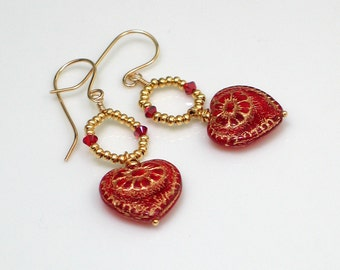 Victorian Red Heart Dangle Earrings, Gold Crystal Hoops with Embossed Glass Hearts, Czech Glass on Handmade Goldfilled Earrings
