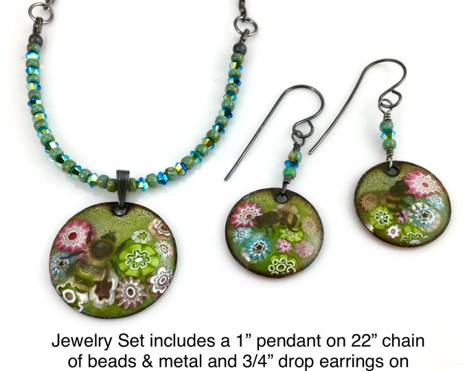 Featured listing image: Bees In Enameled Garden Necklace and Earring Set, Handmade Original Art Jewelry, One of a Kind Nature Inspired Gift for Her, Ready to Mail