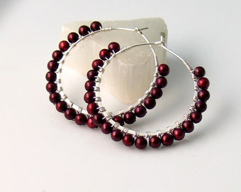 Red Pearl Earrings, Freshwater Pearl Hoops, Rich Cherry Red, Dark Garnet Red Earrings, Fall and Winter Color, Elegant Gift For Her, Artisan