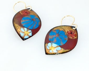 Bright Colored Hand Enameled Earrings, Small Leaf Shapes in Gold Red and Blue, Gold Ear Wires, OOAK Artisan Earrings, Gift Ready to Mail