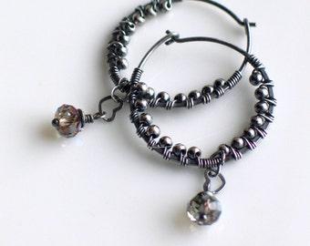 Silver Textured Hoop Earrings, Oxidized Sterling and Crystal Dangle Everyday Hoop Earrings, Modern Hoops, Original Gift for Her