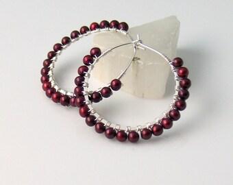 Red Pearl Earrings, Freshwater Pearl Hoops, Rich Cherry Red, Dark Garnet Red Earrings, Fall and Winter Color, Elegant Gift For Her, Artisan
