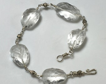 Faceted Crystal Quartz Nuggets Linked with Sterling Silver, Clear Quartz Bracelet,  Artisan Made Power Bracelet, OOAK Gift for Her