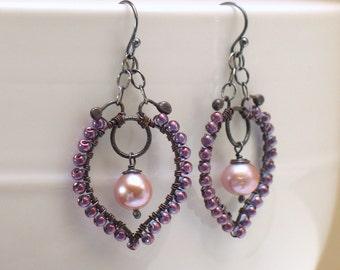 Pink Freshwater Pearl Statement Earrings, Beaded Pearl Hoops, OOAK, Ready to Mail Prom Wedding