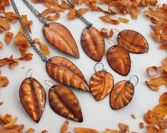 Fall Golden Leaf Earrings, Enamel Art Dangles, Rich Autumn Jewelry, One of a Kind WillOaks Studio Original