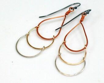 Modern Drop Earrings, Mixed Metal Dangles, Elegant Artisan Made Earrings, Gold Silver Copper, WillOaks Studio Original Gift for Her