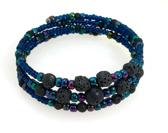 Purple Blue & Black Lava Stone Cuff Bracelets for Essential Oils, Beaded Memory Wire Bracelets, Rustic Boho, Lava Stone Jewelry