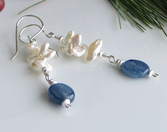 White Pearl and Kyanite Dangle Earrings, White and Blue Drops, Sky and Sea Art Jewelry, Nature Inspired Originals, Pearl & Gemstone Dangles
