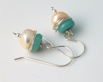 White Pearl and Natural Amazonite Drop Earrings, White Freshwater and Rich Aqua Stone Fashion Jewelry, Gift for her