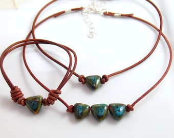 Boho Hippie Valentine, Porcelain Heart and Leather Choker or Cuff, Rustic Leather Necklace & Cuff Bracelet, Blue Green Ceramic Hearts