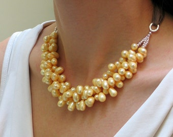 Buttery Yellow Statement Bib, Pastel Pearl Necklace on Silk Ribbon, Freshwater Pearl Cluster, Artisan Signature Necklace,Deluxe Gift for Her