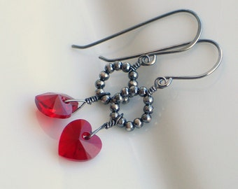 Ruby Red Crystal Heart Earrings, Sterling Silver Dangle Earrings with Swarovski Crystal Hearts, July Birthstone