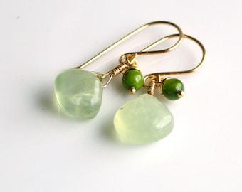 Green Prehnite and Gold Dangle Earrings, Fresh Green Earrings, Green Stone Earrings in Gold Filled, Nature's Gift Earrings