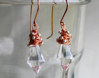 Prism Drop Earrings, Mixed Metal and Crystal Earrings, Crystal Prisms Wrapped in Copper, Make Rainbows