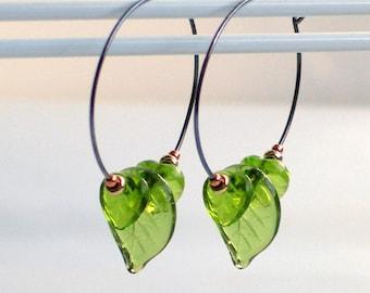 Earthday Mixed Metal Spring Hoop Earrings, Peridot Green Glass Leaves, Fun & Easy Nature Earrings, Leaf Earrings, Czech Glass Jewelry, Gift