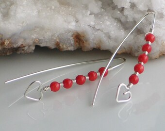 Beating Heart Red Coral Earrings Handmade in Sterling, Bright Red Heart Stick Earrings, Hand Forged Silver and Coral Dangle, Sweetheart Gift