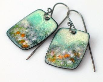 Misty Landscape Impression, Petite Copper Enamel Earrings, Floral Dangles Teal Cream Lavender Gray, Vitreous Enamel on Metal, Artisan OOAK