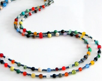 Long Beaded Necklace, Colorful Mixed Gemstone and Dark Gray Long Necklace, Bright Colorful Stones, Hippie Layering Chain, Bohemian Fashion